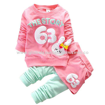 Hong Kong SAR Spring girls' suits,soft and comfortable,accept small order,300pcs is wholesale price