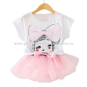 Hong Kong SAR Girls' cotton suits, soft and comfortable, accept small order, 300pcs for wholesale price