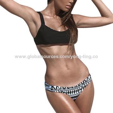 Unique Handmade Two-piece Bikini with Reversible Brazilian Cut Bottom & Reversible Bandeau Strap Top