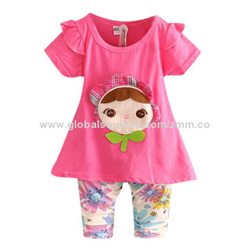 Hong Kong SAR 2015 new girls' suits, soft and comfortable, MOQ is 100pcs, 300pcs is the wholesale price