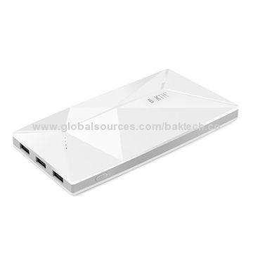 BAKTH 10,000mAh Li-polymer Portable Power Bank for iPad, Tablets, MP3/MP4 & Smartphone Batteries