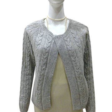 China 100% Cashmere women cardigan with cable