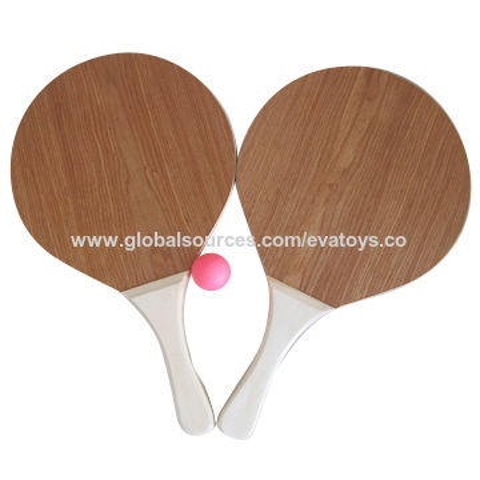 China 2017 Customized Original Color Wooden Beach Paddleball Set Unit Measures 41 5 24