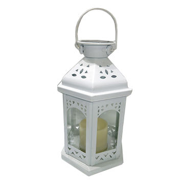 Vintage White Metal Lantern for Candles/Solar Lantern/Solar Lights/JS-1105