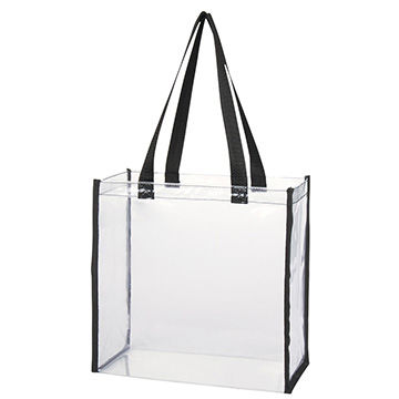 Recycled clear plastic tote bags with handle in large size