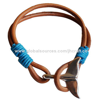 China Whale Tail Bracelet With Pu Wax Cotton Hemp Handmade