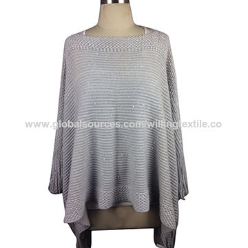 women fashion acrylic poncho shawl
