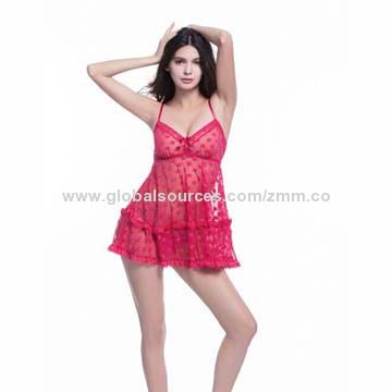 Hong Kong SAR Lingerie Costume, Made of Polyester, Customized Designs and Logos are Accepted