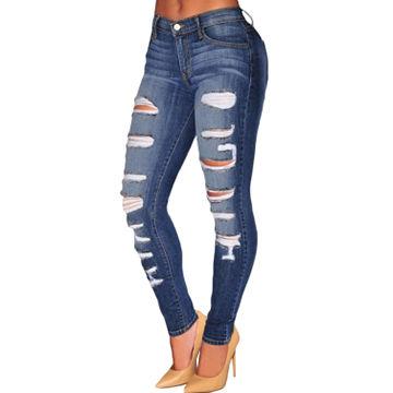 China Blue Denim Destroyed Whisker Wash Women's Jeans, Made of 85%Cotton +10%Polyester+5%Elastane