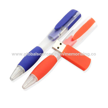 Hong Kong SAR Stylish Plastic Pen Flash Drive with Customized Logo