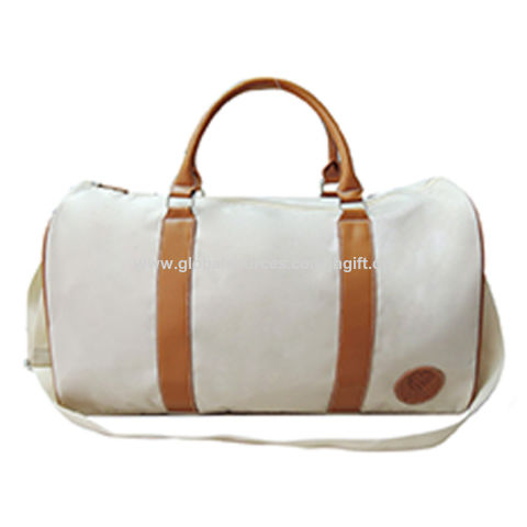 China Cream color 1680D duffel bag with PVC handle, OEM orders are welcome