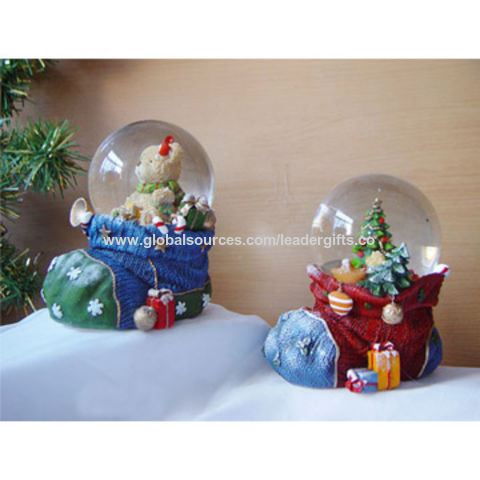45mm Resin Christmas Socks Water Globe with Bear and Tree Figurine for Promotional Gifts