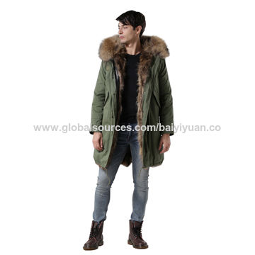 China Wholesale men's long overcoat with raccoon fur lining by fast delivery from overcoat manufacturer