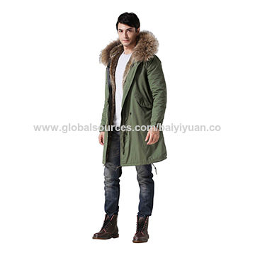 China Manufacturer long style men's fur coat, customized sizes are accepted