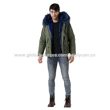China Men's raccoon hooded coats, fur lining, OEM orders are available
