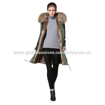 China Wholesale lady winter garment with rec rabbit lining by fast delivery from winter garment supplier