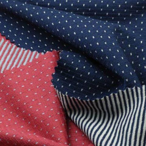 Taiwan Reversible Interlock Fabric, 2-Tone Dot/Stripe for Sports or Leisure Wear