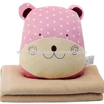 China Cute Customized Soft Nap Blanket Plush Stuffed Animal Cushion