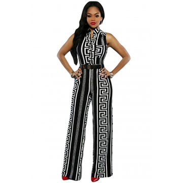 Black Print Gold Belted Jumpsuits, Made of Polyester+ Spandex, ODM/OEM Orders are Welcome