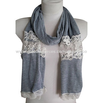 BSCI factory fashion cotton lace scarf