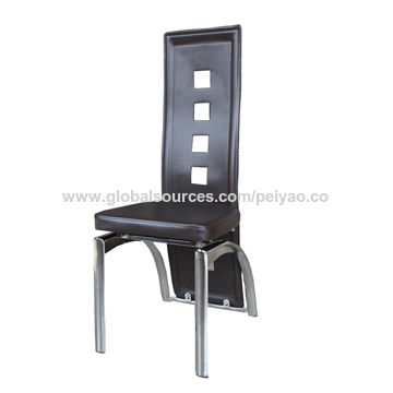 China Wholesale hole back PVC dining chair with metal chrome legs