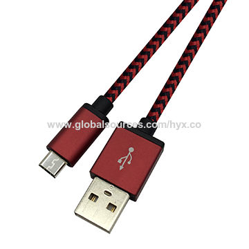 Aluminum USB 2.0 A Male to Micro 5-pin Data Charging Cable with Nylon Braid