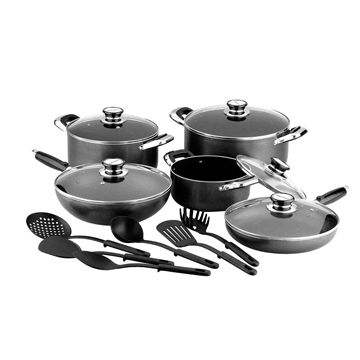 Aluminum non-stick cookware set with power plastic painting