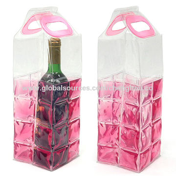 Taiwan Reusable Transparent Pink Wine Bottle Coolers with Nontoxic Gel, Chilled Even Under Room Temperature