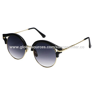 Fashionable Sunglasses for Women,with Plastic Frame and Metallic Arm, Various Colors are Available