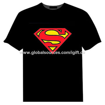 Men's light-up T-shirts, LED Light-up with EL Patch S to 2XL Sizes SA8000