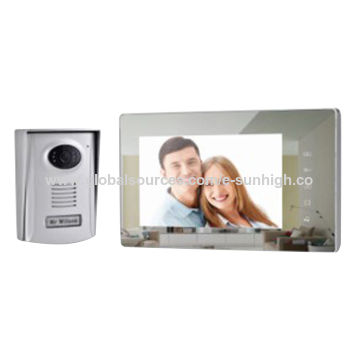 China 7-inch color video door phone, touch button-operated, Acrylic Mirror surface /25 modulated melodies