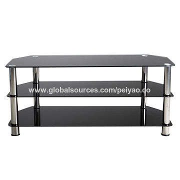 China Metal TV stand with tempered glass 3 tier for living room