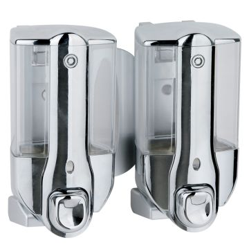 China Plastic Manual Double Soap Dispenser with Chrome Plated