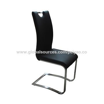 China Leather dining chair with chromed bow legs