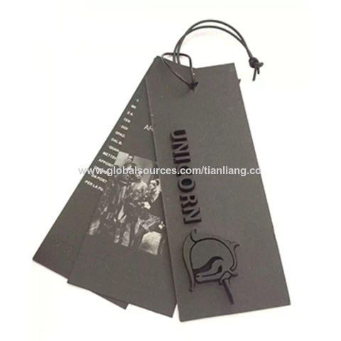 China Garment hang tag,made of art paper,embossed printing,with die cut hole and plastic string