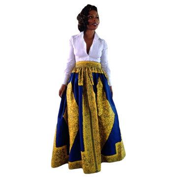 9e9ab816e China Falda maxi de la impresión africana azul amarilla de Quanzhou ...