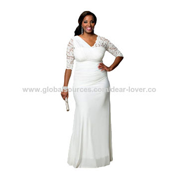 China Full-figured Women's Elegant Half Sleeves Wedding Gown, Made of Polyester + Spandex