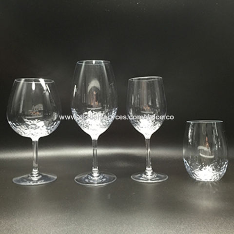 Stem Stemless Hammered Textured Wine Gles By Crystal Clear Unbreakable Tritan Acrylic Bpa Free