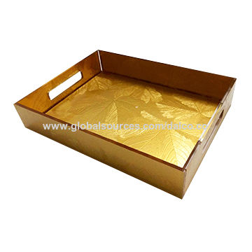Taiwan Golden Acrylic Biscuit and Snack Serving Tray with Customized Color Caddy Inside