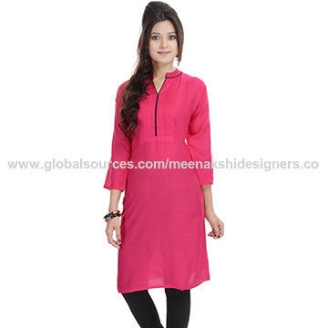 India Pink rayon top/tunic with pintex on neck