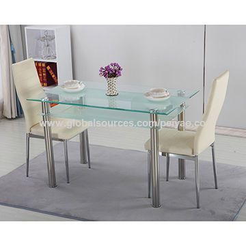 China Modern restaurant table with tempered glass top and stainless steel legs