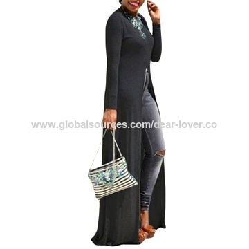 Black High Front Slit Long Shirt Dress Top, Made of Polyester+Spandex, Various Sizes Available
