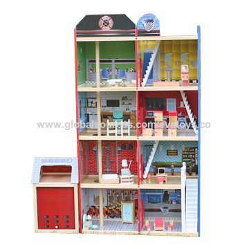 China 2016 New Design Children S Big Wooden Doll House Toy Fire