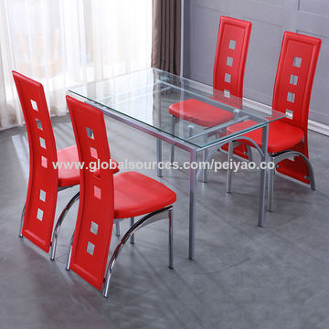 China Tempered Glass Table with PU Wrapped Legs with MDF Inside and 6 PU Chromed Chairs