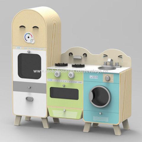 China 2016 New Design Modern Large Wooden Boy S Play Kitchen With Fridge And Washing Machine