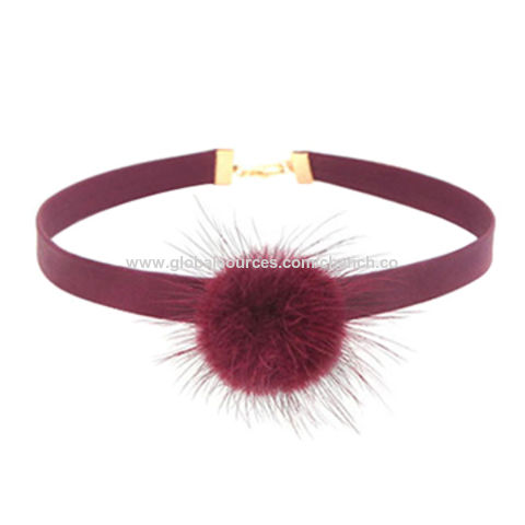 Vogue Leather Chokers with Soft Pom Pom Decoration, Customized Designs are Welcome