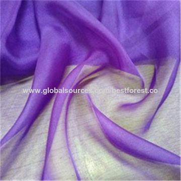 China Customized colors plain dyed woven pure mulberry silk chiffon gauze fabric