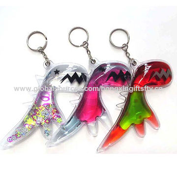 China Promotional liquid filled PVC keychain