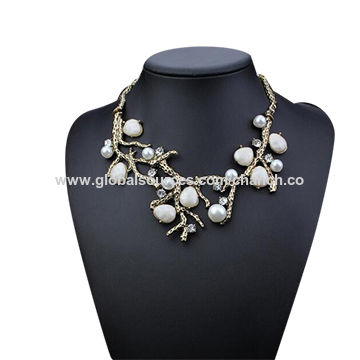 Statement Necklace Shaped in Tree Branch, Decorated with Bright Crystals and Imitation Pearls