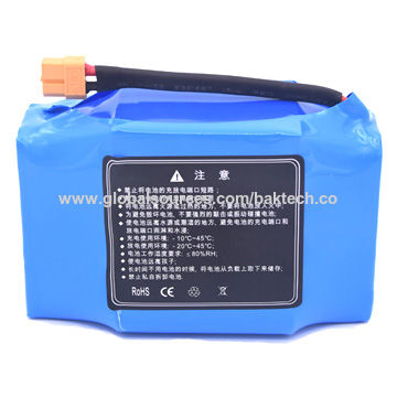 Lithium ion battery pack, 37V 4400mAh soft pack for scooter, 18650 cell, UL1642 CE comply